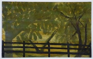 Shady Forest and Fence by Frank Walter contemporary artwork