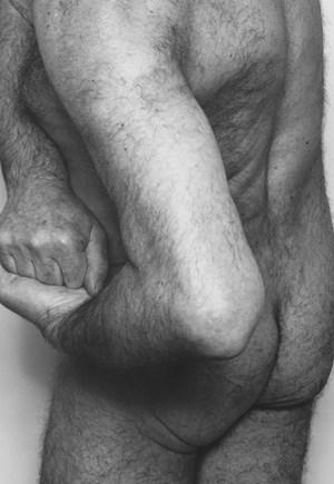 Self Portrait, Three Quarter Back, Hands Clasped by John Coplans contemporary artwork
