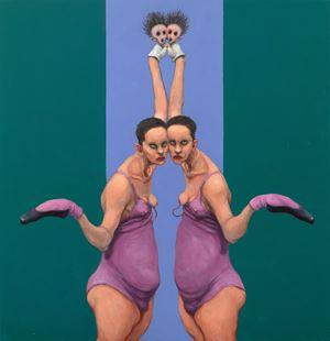 Tip Toe Twins by Michael Kvium contemporary artwork