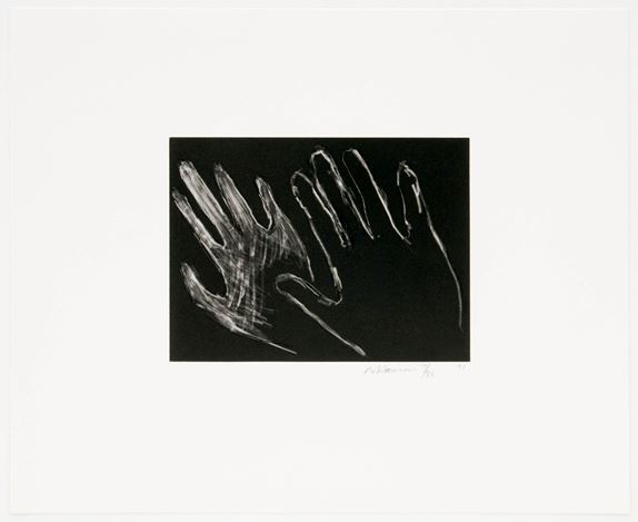 Bruce Nauman,Untitled (Hands)(1990–1991). Drypoint with aquatint on Somerset Satin paper. 16 3/4 x 19 1/2 inches. Courtesy David Zwirner.