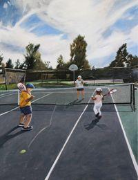 Tennis court by Hiroya Kurata contemporary artwork painting