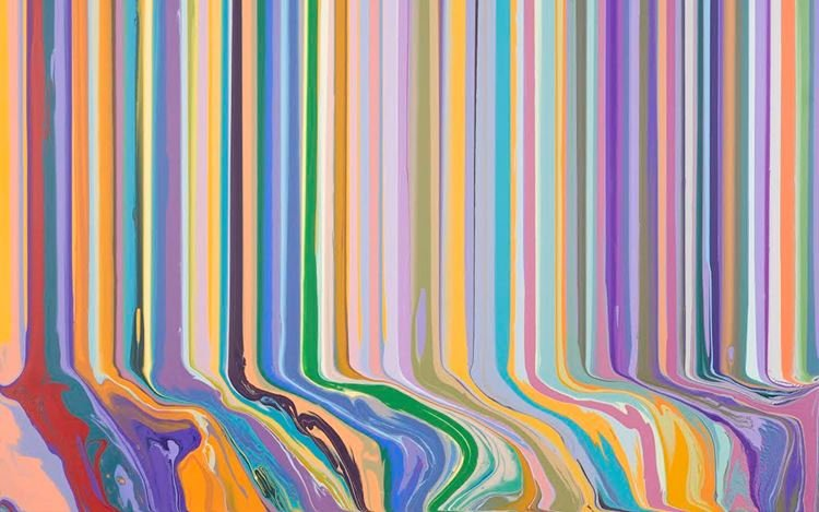 Ian Davenport, Cadmium Yellow and Purple (2020) (detail). Acrylic on aluminium mounted onto aluminium panel. 101.6 x 101.6 cm. Courtesy Waddington Custot.