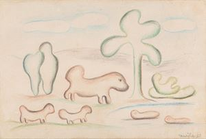 Paisagem com bichos antropofágicos by Tarsila Do Amaral contemporary artwork