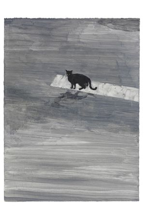 When a Black Cat Crosses the Street by Sodam Lim contemporary artwork painting, works on paper