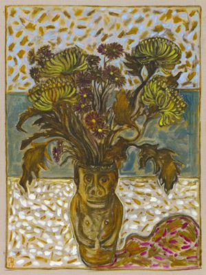 chrysanthemums in June's pot by Billy Childish contemporary artwork