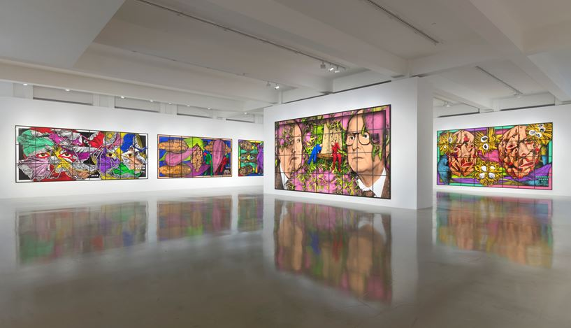 Exhibition view: Gilbert & George, THE PARADISICAL PICTURES, Sprüth Magers, Los Angeles (16 November 2019–25 January 2020). CourtesySprüth Magers. Photo: Robert Wedemeyer.