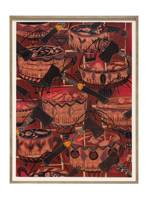 Found Buried: Textile for a Political Demonstration by Lari Pittman contemporary artwork