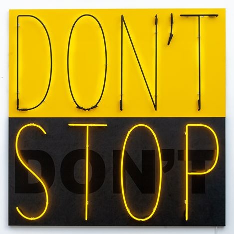Deborah Kass, Don't Stop 1 (Yellow/Black) (2020). Acrylic and neon on canvas. 72 x 72 inches. Courtesy Kavi Gupta.