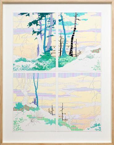 Viv Miller, Looped Landscape 3 (2021). Gouache and pencil on paper, 63 x 47 cm. Courtesy Gallery 9, Sydney.