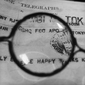 Foujita's Glasses - Viewing a telegram he sent to GHQ officer Sherman who helped him leave Japan  gelatin silver prin by Tomoko Yoneda contemporary artwork