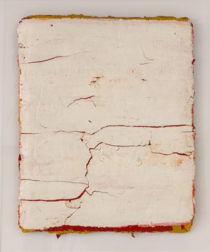 Edges and Residues 03 - White on Cad Yellow 01 by Kanchana Gupta contemporary artwork
