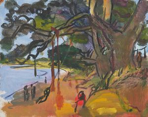 Swings at Iken by Sargy Mann contemporary artwork