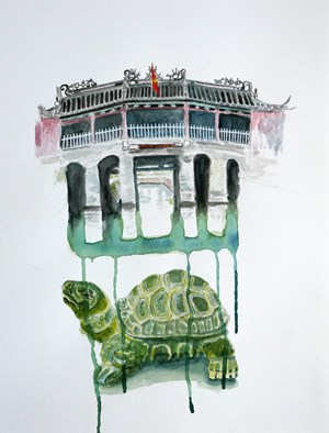Japanese Bridge and turtle by Geoff Levitus contemporary artwork